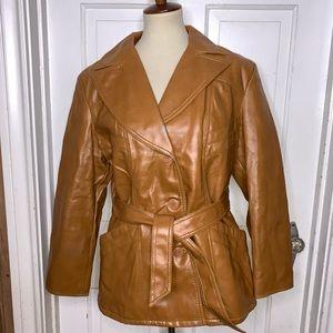 Vintage 1970s Caramel Spy Vegan Leather Coat